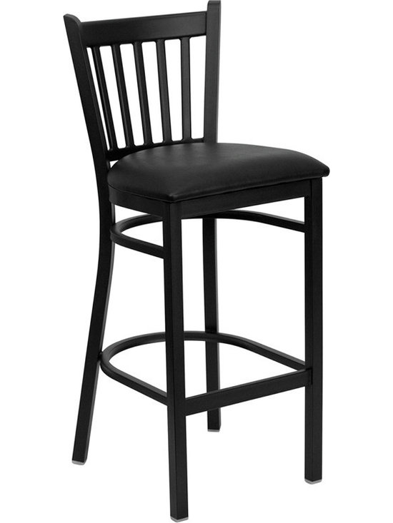 Flash Furniture - Hercules Series Black Vertical Back Metal Restaurant Bar Stool - This heavy duty commercial metal bar stool is ideal for Restaurants, Hotels, Bars, Pool Halls, Lounges, and in the Home. The lightweight design of the stool makes it easy to move around. The tubular foot rest not only supports your feet, but acts as an additional reinforcement that helps secure the legs. This stool will keep you comfortable with the easy to clean vinyl upholstered seat. You will not regret the purchase of this bar stool that is sure to complement any environment to fill the void in your decor.