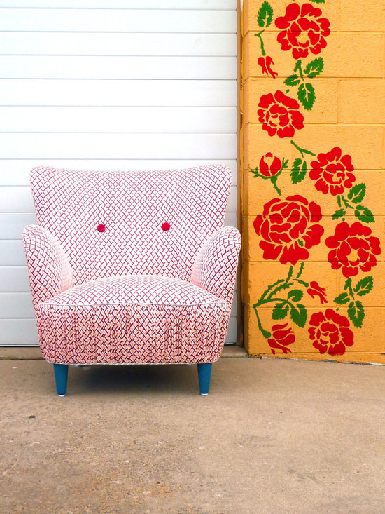 1950's Retro Vintage Painted Abstract Art Chair - This is truly the most unique piece that Vintage Renewal has done to date. A retro 1950's vintage mid century chair has been covered in a geometric pink and cream vintage fabric and adorned with two large red vintage buttons. The bottom seat has been shirred for texture and interest.