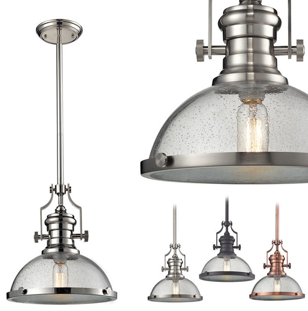 chadwick seeded glass pendant industrial pendant lighting by. Black Bedroom Furniture Sets. Home Design Ideas