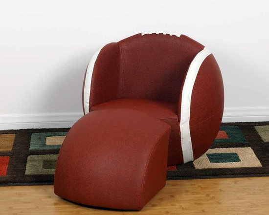 Kids Furniture - Give your little Football fan the best seat in the house with this chair and ottoman set. Featuring soft faux leather and thick padded cushion, with sturdy wooden bases. It can be easily cleaned with mild soap and water. Sized perfectly for children.