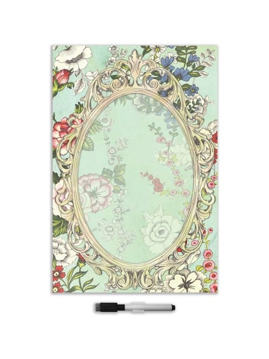 """Brewster Home Fashions - Vintage Bazaar Giant Novelty Dry-Erase Decal - This beautiful dry-erase decal mixes vintage looks with the modern convenience of a peel and stick message board. A Victorian meets mod pop of flowers is resplendent behind an ornate frame making a lovely space for you to keep track of lists and leave notes.   The dry erase Vintage Bazaar message board is 26"""" x 39"""" and comes with a dry erase marker."""