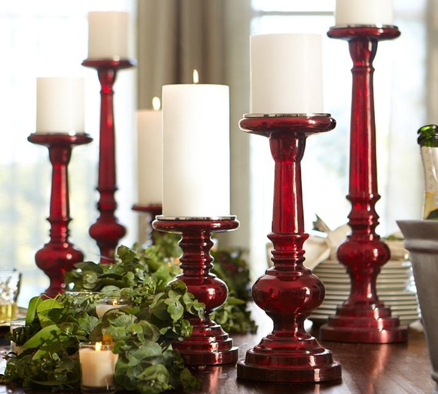 Red Mercury Glass Pillar Holders - Contemporary - by Pottery Barn