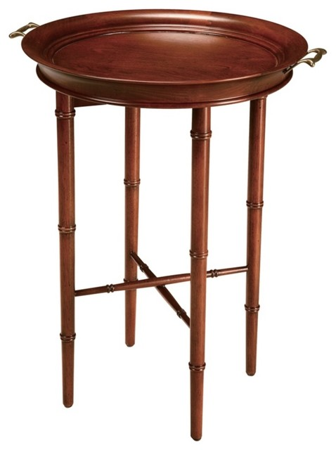 Traditional Faux Bamboo Cherry Finish Tray Table traditional-side-tables-and-accent-tables
