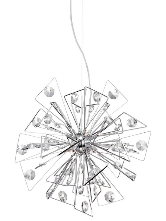 "Possini Euro Design - Possini Euro Starzine 22"" Wide Chrome Contemporary Pendant - Minimal and eye-catching this contemporary pendant light adds instant appeal to any room. Chrome finish triangles burst from the center sphere for a look that is fresh and energizing. Clear crystal accents finish this design off with a bit of dazzle and shine. From the Starzine Collection by Possini Euro Design.  Starzine contemporary pendant light.  Chrome finish.  Clear crystal accents.  Includes eight 20 watt G4 halogen bulbs.  Includes Electronic transformer.  Includes 10 feet of adjustable cord.  22"" wide.  Canopy is 8"" wide.  Hang weight is 9.50 lbs"
