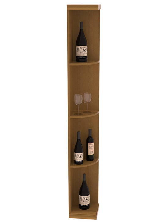 Quarter Round Wine Display in Redwood with Oak Stain + Satin Finish - Highly decorative Quarter Round Wine Displays are the perfect solution to racking around corners. Designed with a priority on functionality, these wine storage units are excellent as end caps to walls of wine racking or as standalone shelving.
