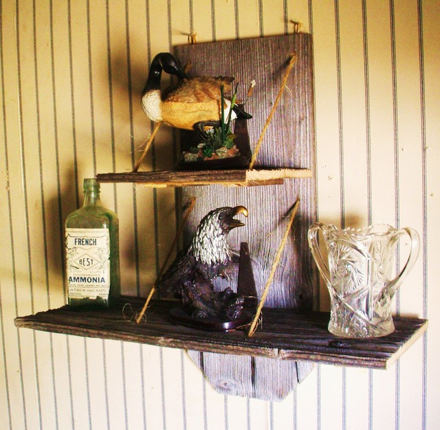 Barn Home Decor: Old Antique Reclaimed Barn Wood Shelf With Two Tiers