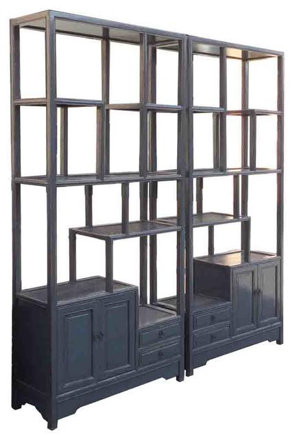Pair Gray Blue Chinese Treasure Curio Display Cabinets