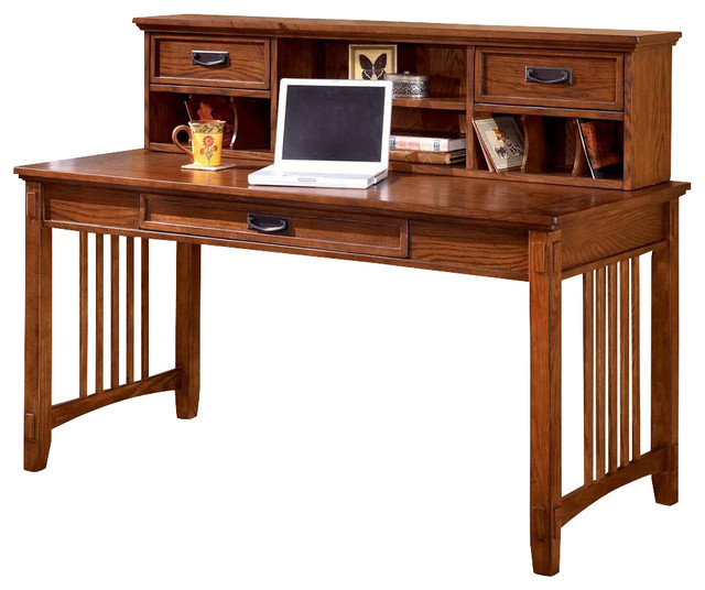 Mission Style Writing Desk w Low Hutch - Craftsman - Desks And Hutches