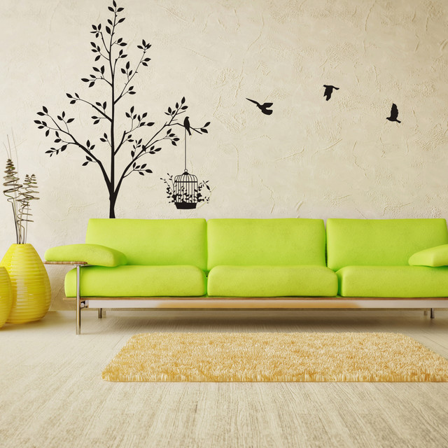 Tree Birds Wall Decals Stickers Living Room Modern Other Metro By Jwhestore