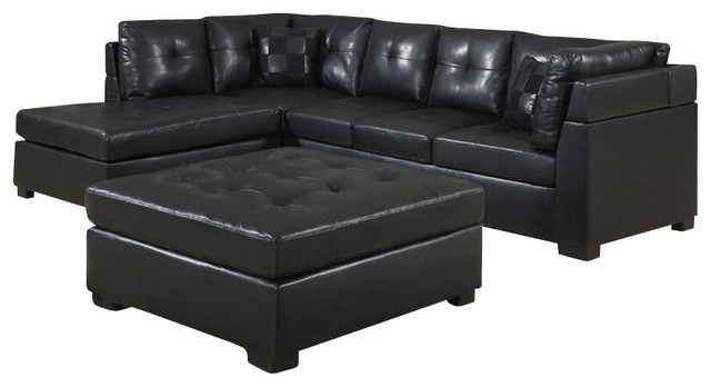 Coaster Darie Leather Sectional Sofa with Left-Side Chaise in Black transitional-sectional-sofas