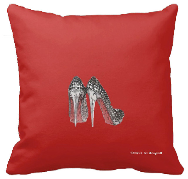 High Glam Sparkle Heels Decorative Pillow Red Contemporary Decorative Pillows By Tomova