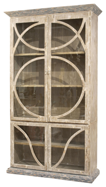 French Country Taupe Oak Reclaimed Wood Cabinet Vitrine transitional-storage-cabinets