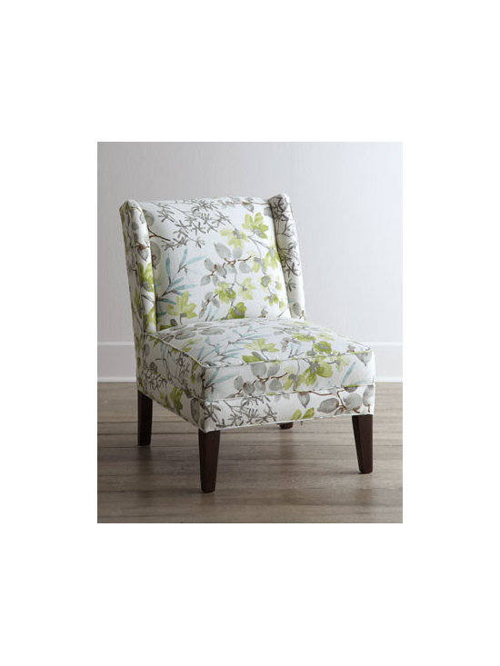 """Horchow - Friendswood Chair - A classic chair takes on fresh appeal with an overall floral and foliage motif rendered in soft watercolor hues. Its armless styling makes it perfect for creating an intimate conversation area. Hardwood frame. Linen/rayon upholstery. 34""""W x 26""""D x 36""""T. Made in the USA. Boxed weight, approximat"""