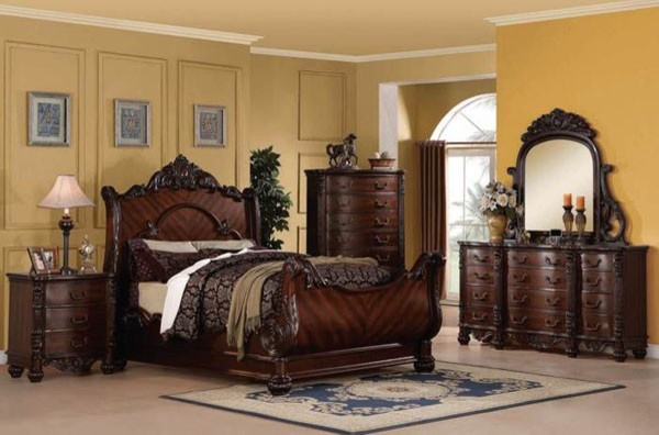 Acme Furniture Jacob Traditional Dark Cherry 5 Piece Queen Sleigh Bedroom Set Traditional