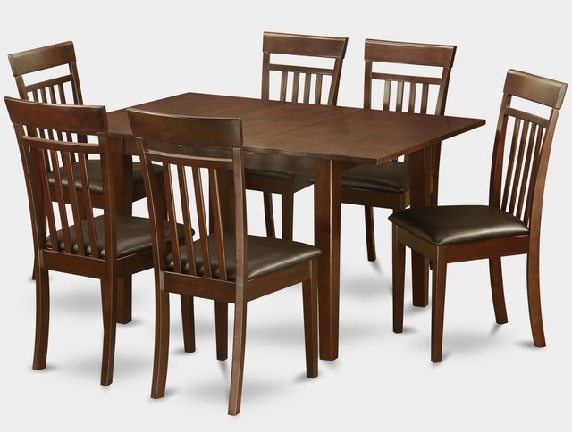 7Pc Picasso Dining Table with 6 Capri Slatted Back Faux Leather Seat Chairs modern-dining-tables