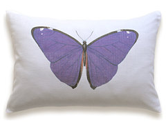 Butterfly Pillow Cover 12x18 inch White Purple pillows