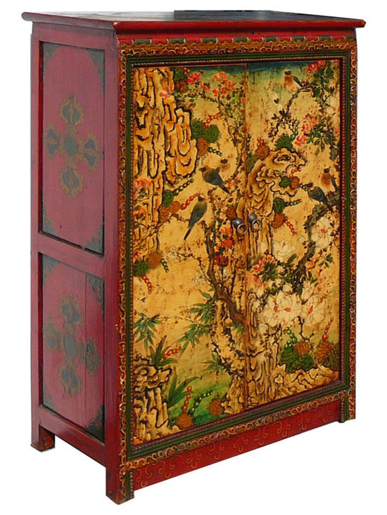 Tibetan Antique Flower Bird Painting Side Cabinet -