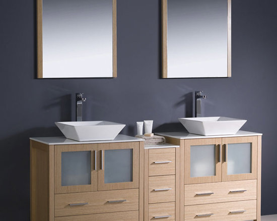 Fresca - Fresca 72 Light Oak Double Sink Vanity, Side Cabinet & Vessel Sinks - Featuring a Light Oak finish and frosted glass panels, the Torino 72 vanity from Fresca will look great in both modern and traditional bathrooms. Supplied with the side cabinet, this vanity has a durable and robust construction to ensure long lasting durability. Incorporating plenty of essential storage space for toiletries and bathroom linen, this vanity also comes complete with the ceramic vessel sinks, which provide a chic, spa-style look. Torino Bathroom Vanity Details:   Dimensions: Vanity: 72W x 18 1/8D x 35 5/8H; Side Cabinet: W 12 x D 17.75 x H 31.63 Material: Plywood with Veneer, ceramic vessel sink Finish: Light Oak  Please note: faucets not included