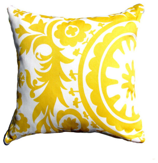 Pale Yellow Decorative Pillows : Yellow Pillow Cover- Yellow & White Suzani Decorative Pillow Cover - Contemporary - Decorative ...