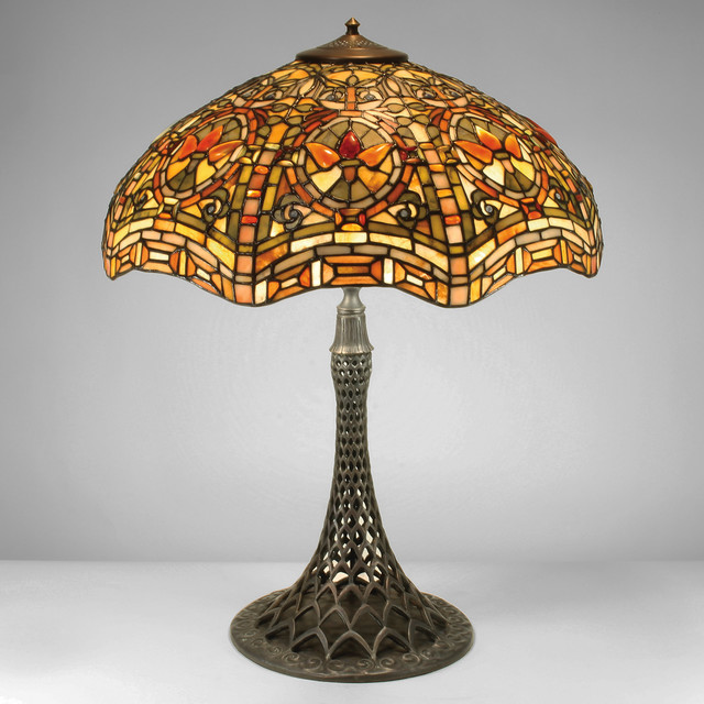 22-inch Artistic Arabesque Gemstone Tiffany-Style Table Lamp - Craftsman - Table Lamps - los ...