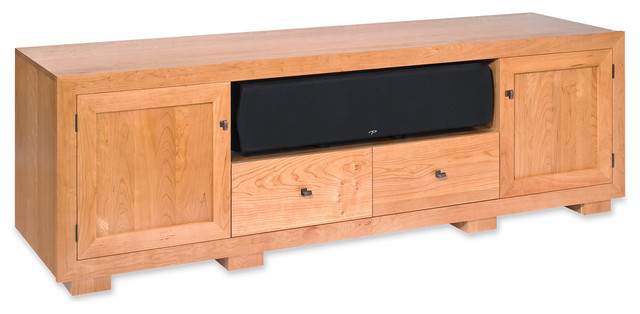 standout designs haven 82 natural cherry solid wood tv console transitional media storage. Black Bedroom Furniture Sets. Home Design Ideas