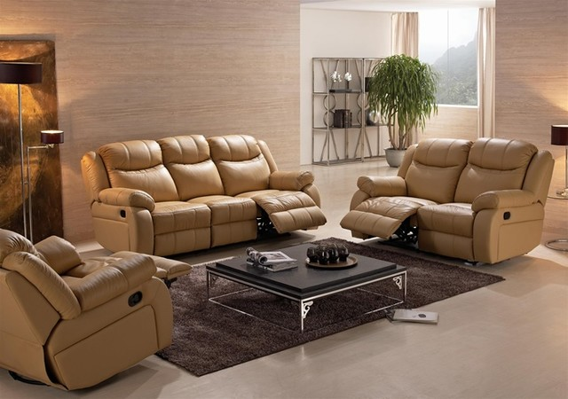 Madin Reclining Leather Sofa Set Modern Living Room Furniture Sets By D