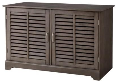 ... Shuttered Door Media Stand, Dark Gray traditional-media-storage