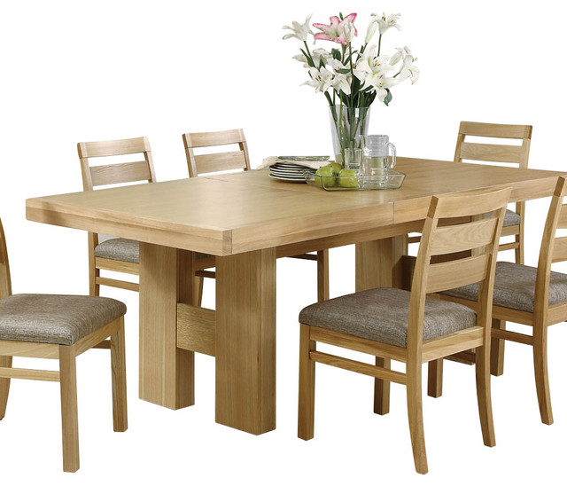 Monarch Specialties I 1794 Natural Oak Veneer Rectangular Dining Table Tran