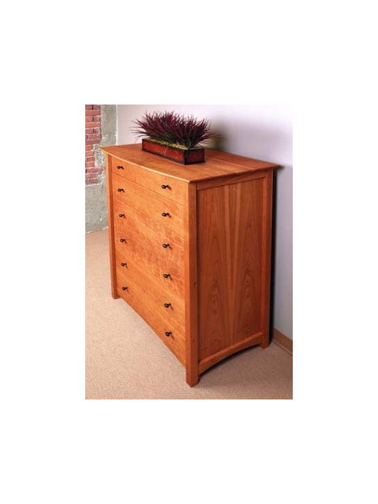 MACKINTOSH 6 DRAWER VERTICAL DRESSER - Inspired by the Scottish architect and artist, Charles Rennie Mackintosh, this collection combines elements of the arts and crafts movement as well as his signature geometric designs.
