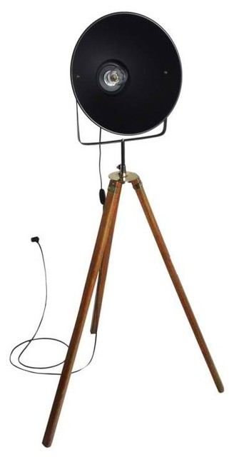 Vintage Style 1920's Film Studio Tripod Light - modern - floor