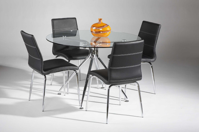 High Class Round Clear Glass Top Leather Dinette Tables And Chairs Modern