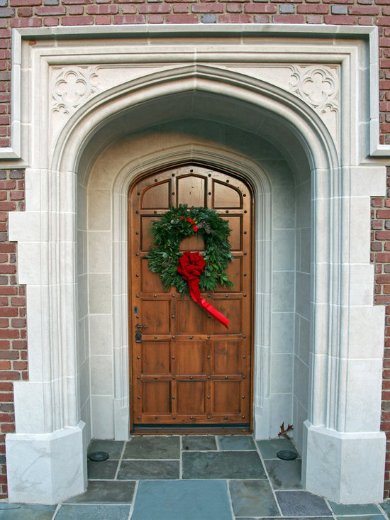 English front door with stone surround - Custom front door with stone surround