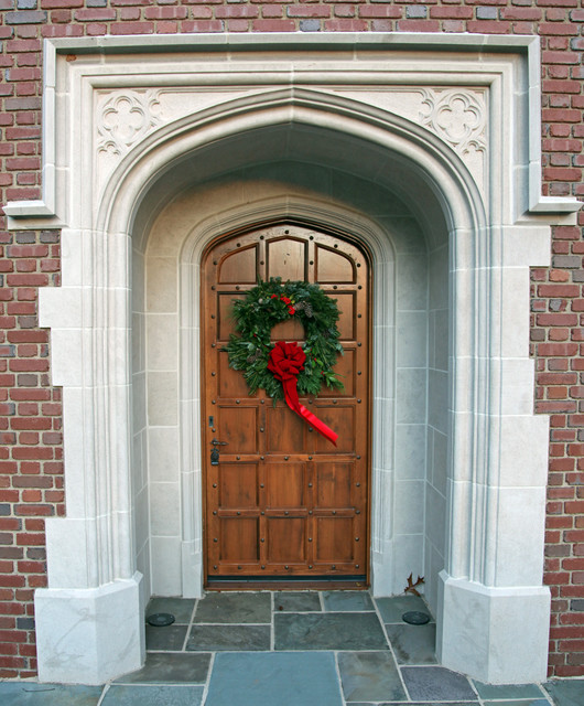 English Front Door With Stone Surround Traditional Front Doors Dallas