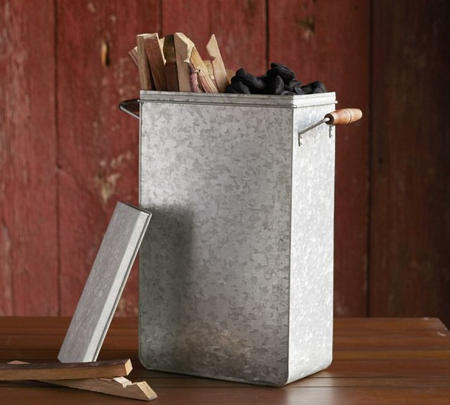 Galvanized Metal Charcoal Bin Modern Outdoor Products
