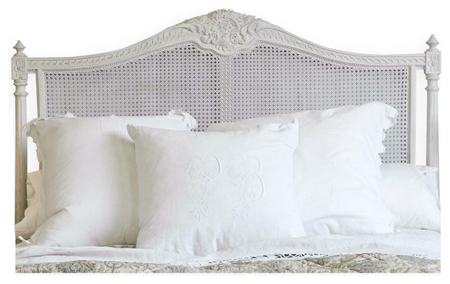 Louis XVI French Country Natural White Painted Cane Headboard Queen Farmho