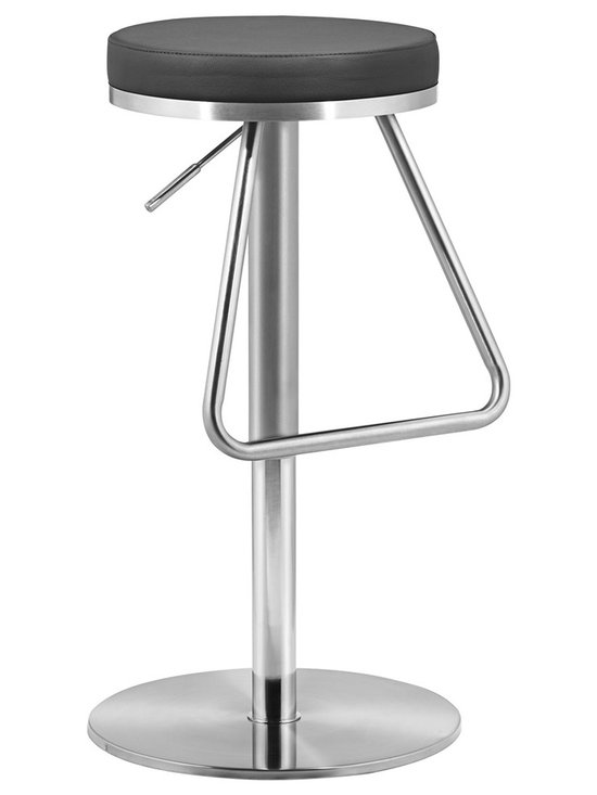 """Zuo - Zuo Soda Black Adjustable Height Bar or Counter Stool - The height of this streamlined modern backless bar stool is adjustable to fit any bar or dining counter. A soft black leatherette cushion sits atop a stainless steel base with a large stirrup-type footrest.  A beautiful design from the Zuo Modern collection. Black leatherette cushion. Stainless steel frame. Height adjusts from 22"""" to 31"""". Seat is 14"""" wide and 14"""" deep.  Black leatherette cushion.  Stainless steel frame.  Height adjusts from 22"""" to 31"""".  Seat is 14"""" wide and 14"""" deep.  250 lb. recommended weight limit.  Some assembly required."""