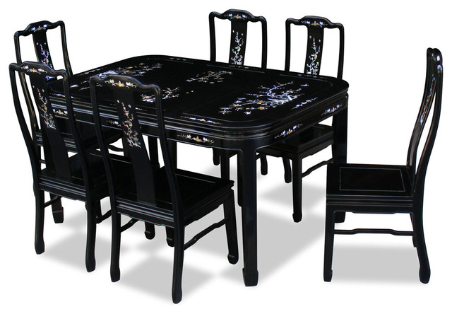60in rosewood mother of pearl motif dining table with 6 chairs asian dining sets by china. Black Bedroom Furniture Sets. Home Design Ideas