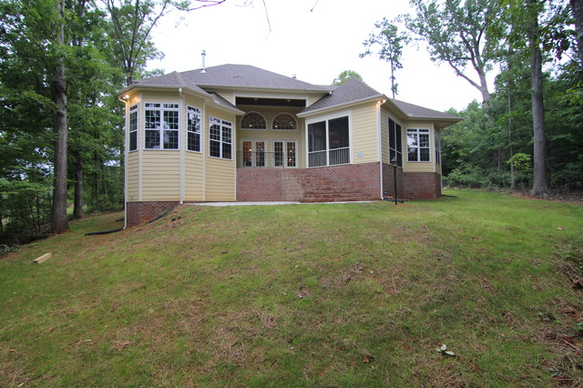 One Story Custom Home Exterior Transitional Raleigh