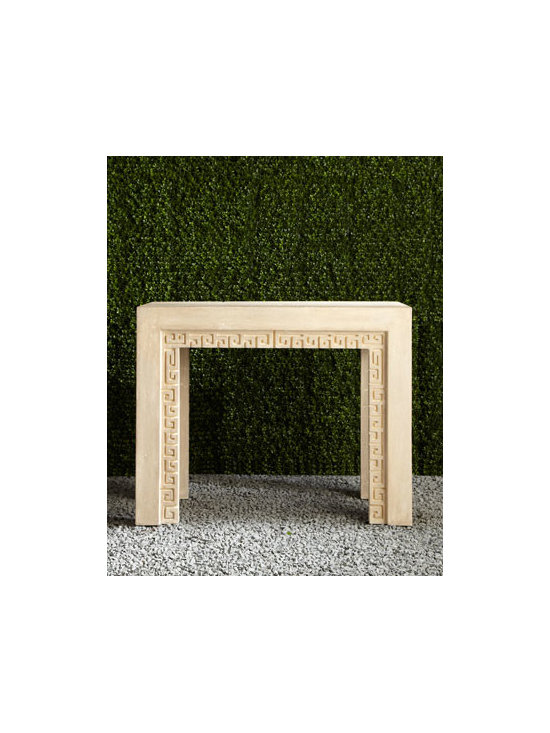Horchow - Outdoor Console Table - This outdoor console table with Greek key would make a stunning bar or serving table.