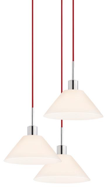 Sonneman 3563.01R-3 Glass Pendants Cone 3-Light Pendant transitional-pendant-lighting