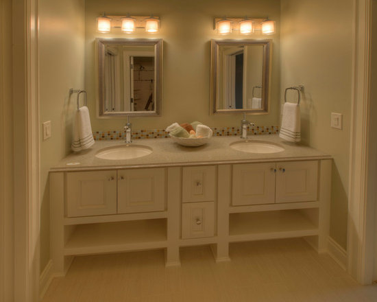 Custom Cabinets - Painted double vanity with open storage