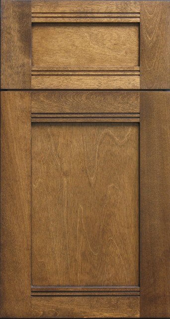 Birch Shaker Door Drawer With V Groove Details Rustic Kitchen Cabinetry Other Metro By