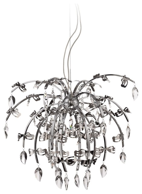 "Possini Euro Taryn Chrome 31"" Wide Clear Crystal Pendant contemporary-chandeliers"