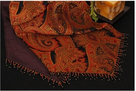 Pacific Table Linens Classic Paisley Reversible 15 x 96 Table Runner modern-dining-tables