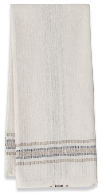 "Khadhi Tea Towels, White/Beige/Navy, 20""x30"" traditional-dish-towels"