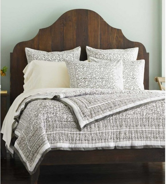 Taupe Block Print Bedding - Traditional - Bedding - by ...