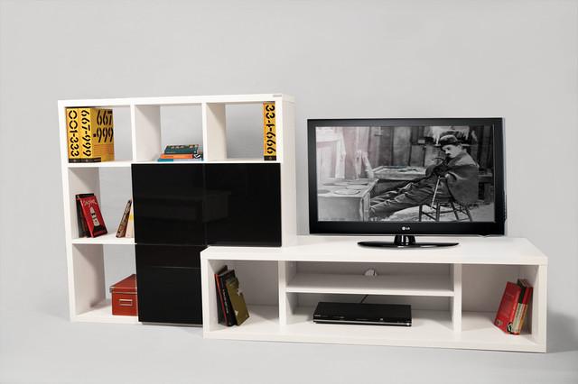Tv Stand White - Black - Contemporain - Solution Média et Meuble TV ...