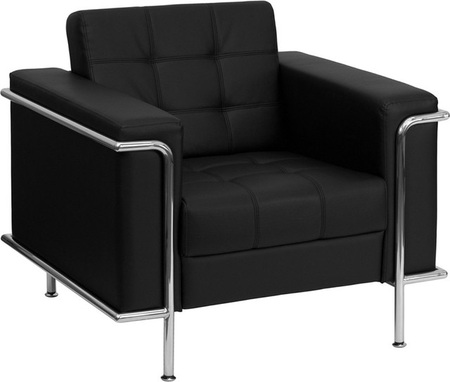 Lesley Contemporary Black Leather Chair with Encasing Frame contemporary-chairs