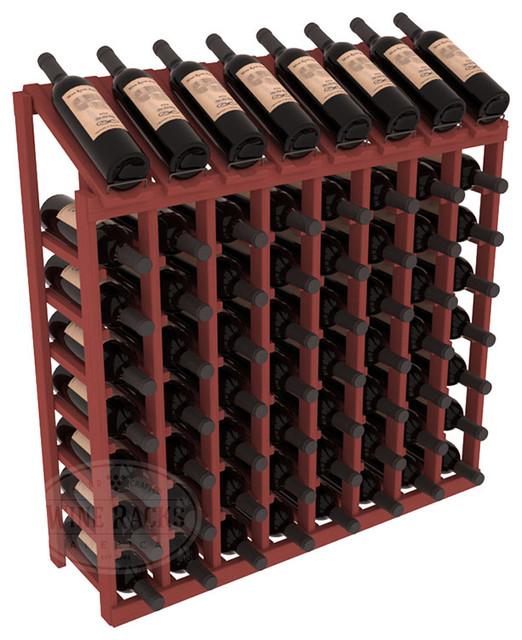 64 Bottle Display Top Wine Rack in Pine, Cherry Stain contemporary-wine-racks