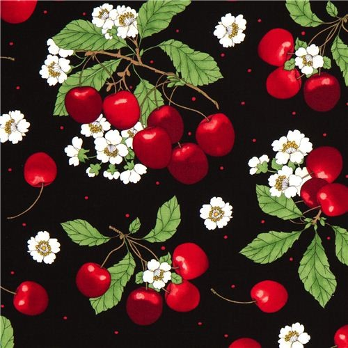 black cherry & cherry blossom fabric by Timeless Treasures  fabric